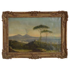 """Oil on Canvas, """"View of Vesuvius"""", Signed D. Stewart, 1866"""