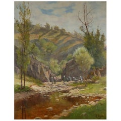 Oil on Canvas, Washers in River Landscape Signed AB Laurens, English, circa 1880