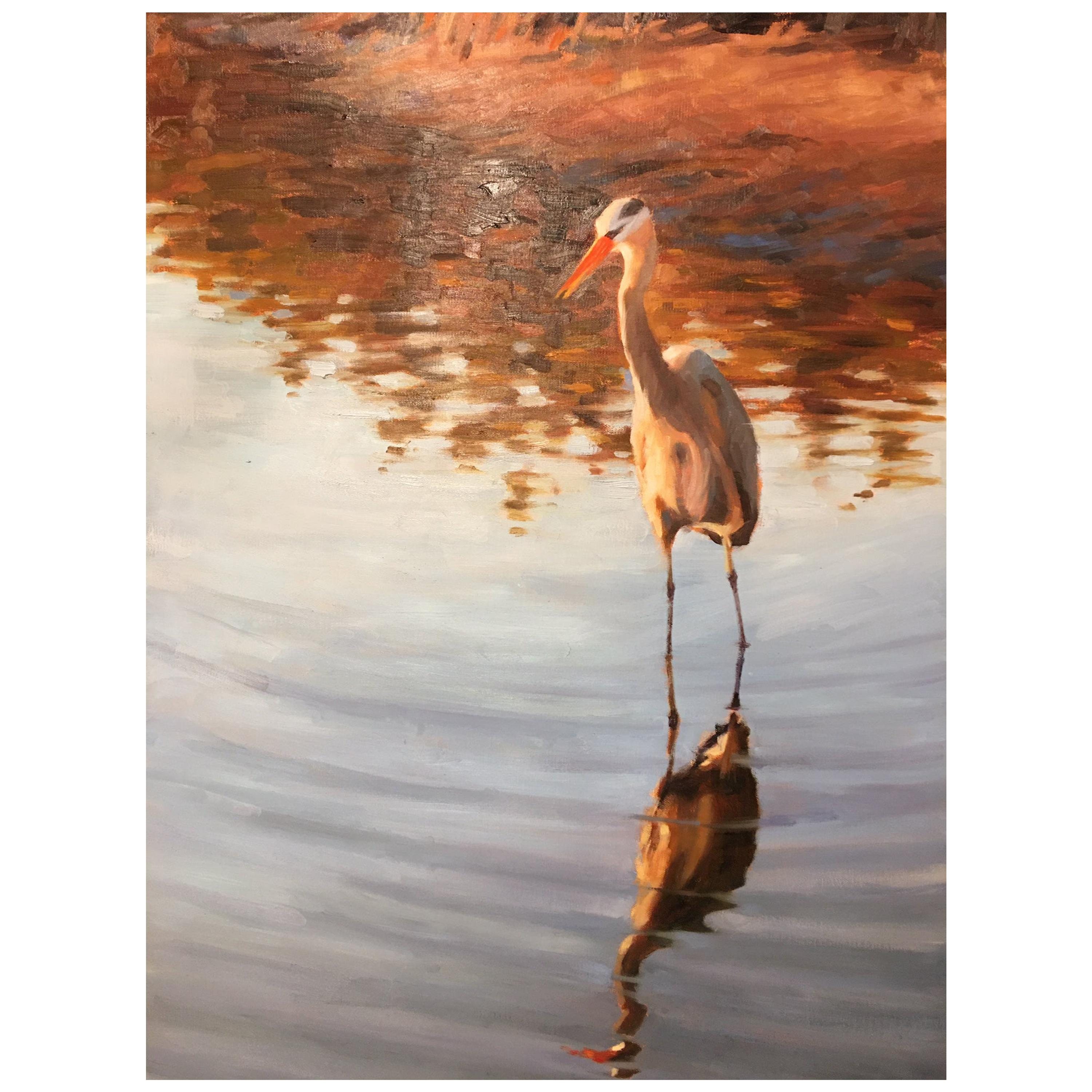 """Oil on Canvas """"Watching and Waiting"""", Heron, Mary Segars"""