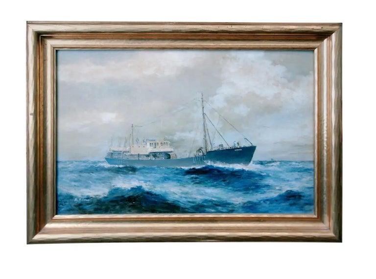 19th Century Oil on Canvas, Wilhem Karl Arnesen British Battle Ships For Sale