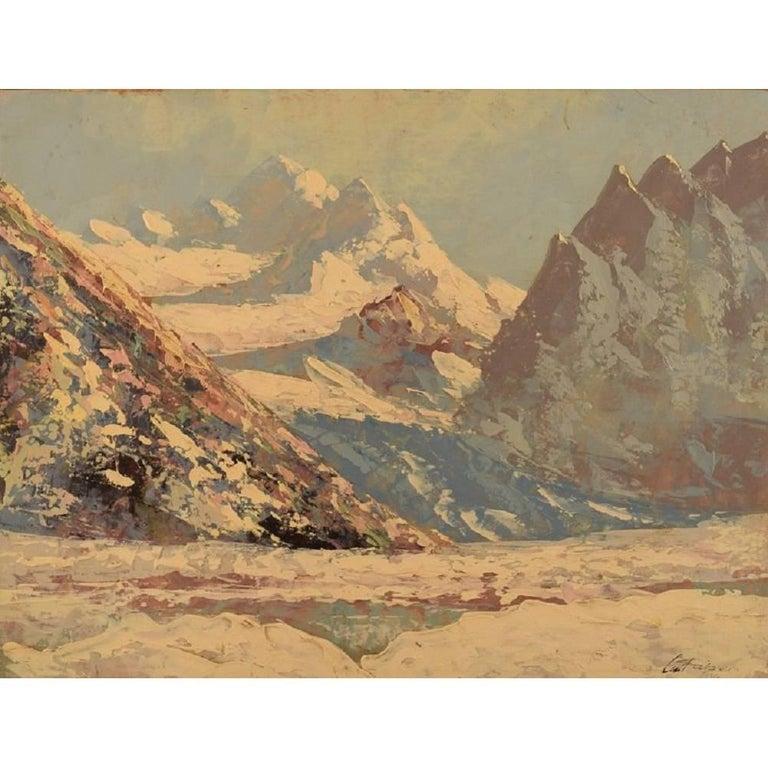Oil on Canvas, Winter Mountain Landscape, 1939