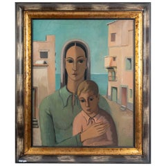 Oil on Canvas Woman with Her Child