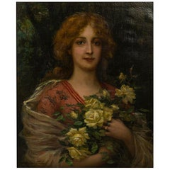 """Oil on Canvas """"Young Beauty with White Roses"""", by Antonio Torres"""