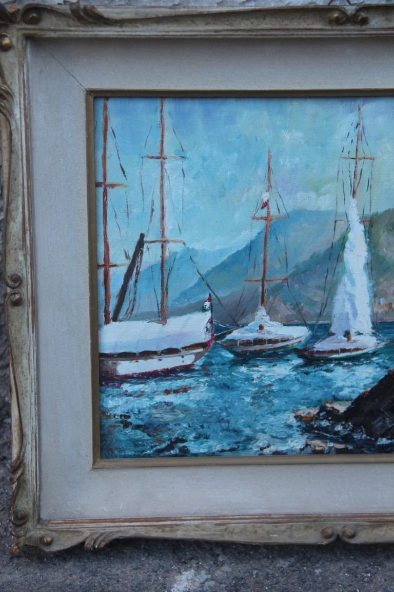 Mid-Century Modern Oil on Cardboard Boats on the Sea in 1940 with Lacquered Frame For Sale