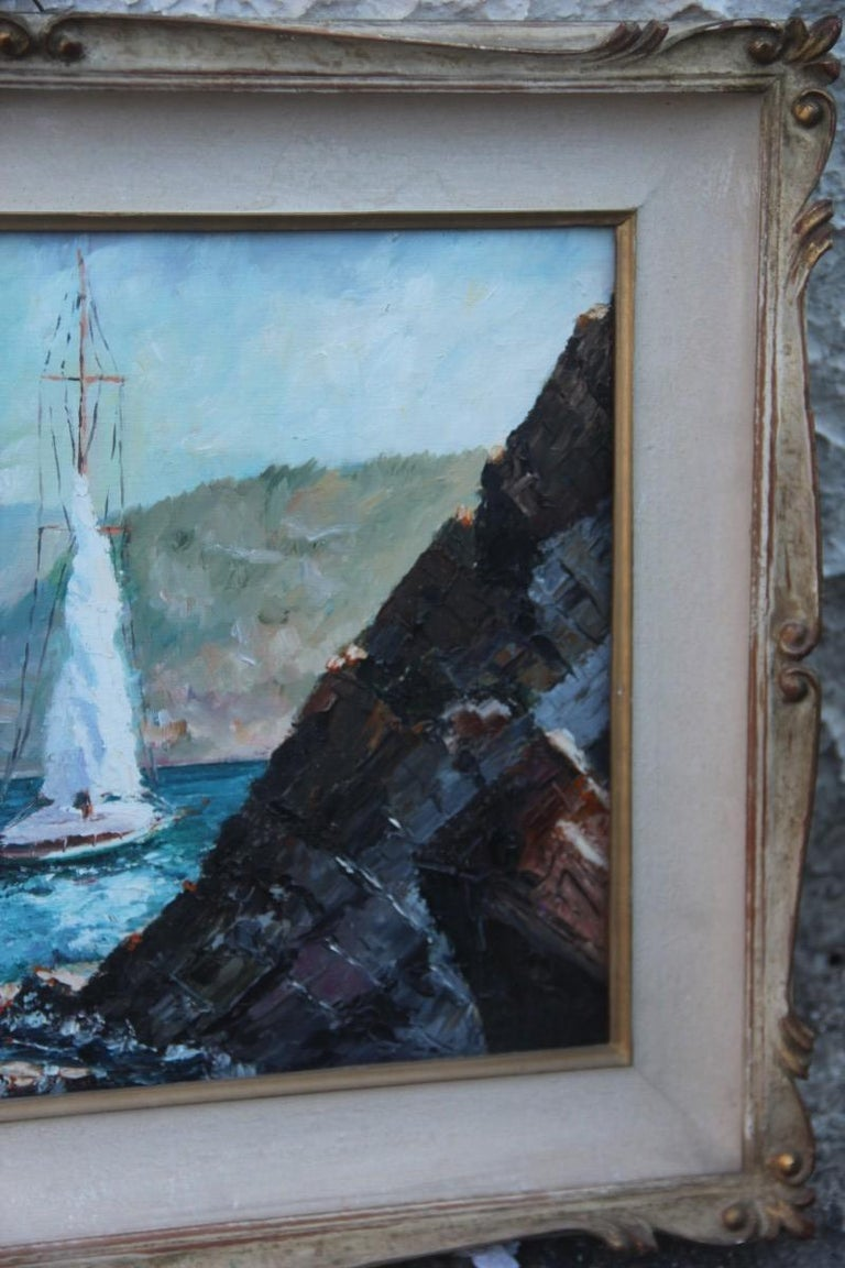 Italian Oil on Cardboard Boats on the Sea in 1940 with Lacquered Frame For Sale