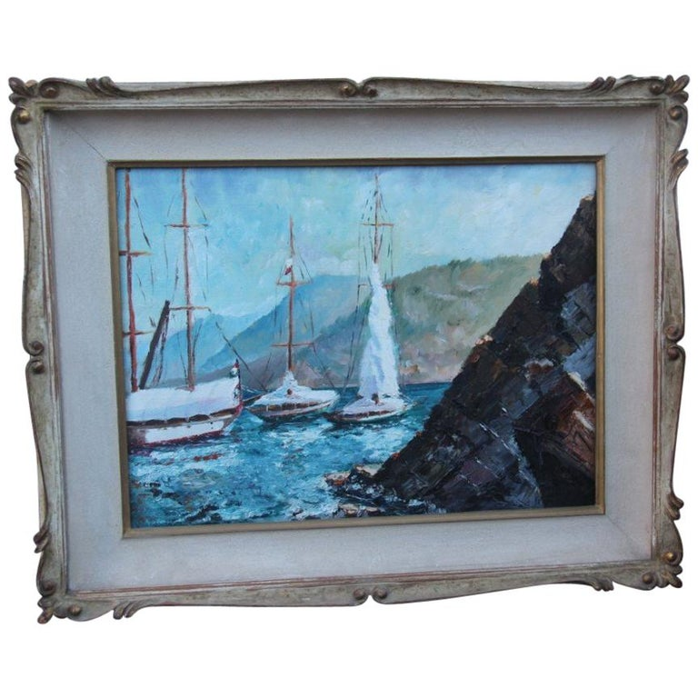 Oil on Cardboard Boats on the Sea in 1940 with Lacquered Frame For Sale