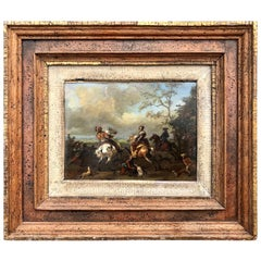 Oil on Copper Painting of a Hawking Scene, Carel Van Falens