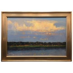"Oil on Linen Painting ""Evening Cloudscape over Pelican Point"", Michael Reibel"