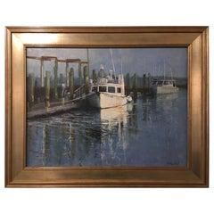 "Oil on Linen Panel ""Canyon Runner"", Boats at Dock, Michael Reibel"