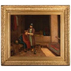 "Oil on Orientalist Canvas ""The Turkish Barber"", 19th Century"