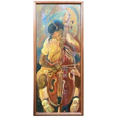 Oil on Panel, Andrew Turner 'American, 1944 - 2001', 'Girl Playing Cello' 1995