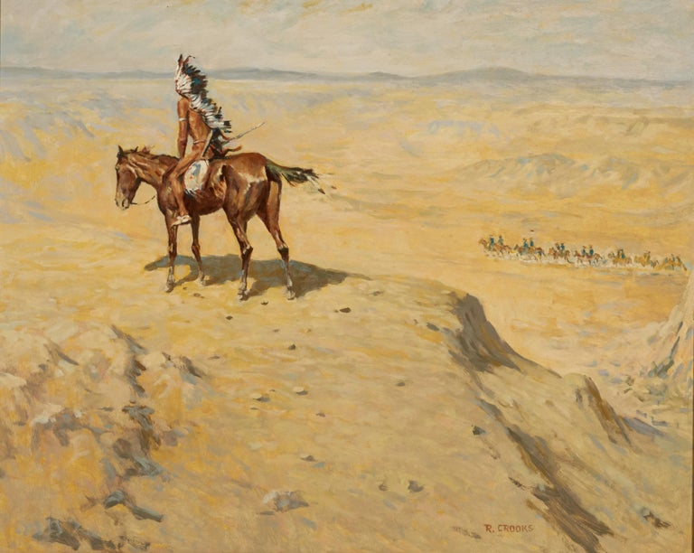 Ronald Crooks (1925-2006) is a well known painter of nostalgic western genre subjects. This oil on panel skillfully depicts an Indian chief high above a canyon as he watches the US Calvary pass through.