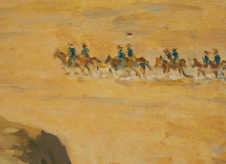 American Oil on Panel by Listed Artist Ronald Crooks Indian Chief on Bluff For Sale