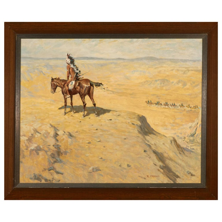 Oil on Panel by Listed Artist Ronald Crooks Indian Chief on Bluff For Sale