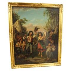 Oil on Panel Painting 'Gypsies Dancing'
