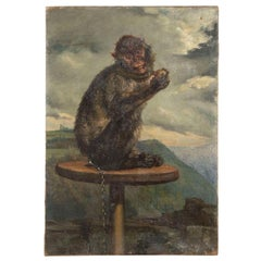 Oil on Panel Painting of a Monkey