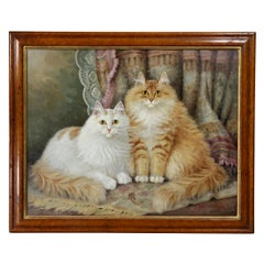 Oil on Panel Painting of Two Cats by Percy S Sanborn