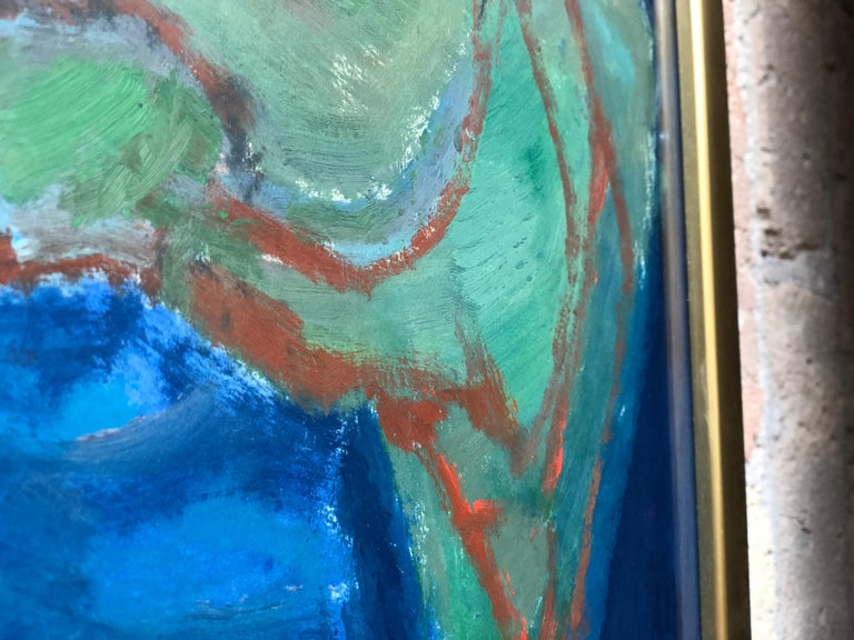 Mid-Century Modern Oil on Paper Painting by Doris Rudoff For Sale