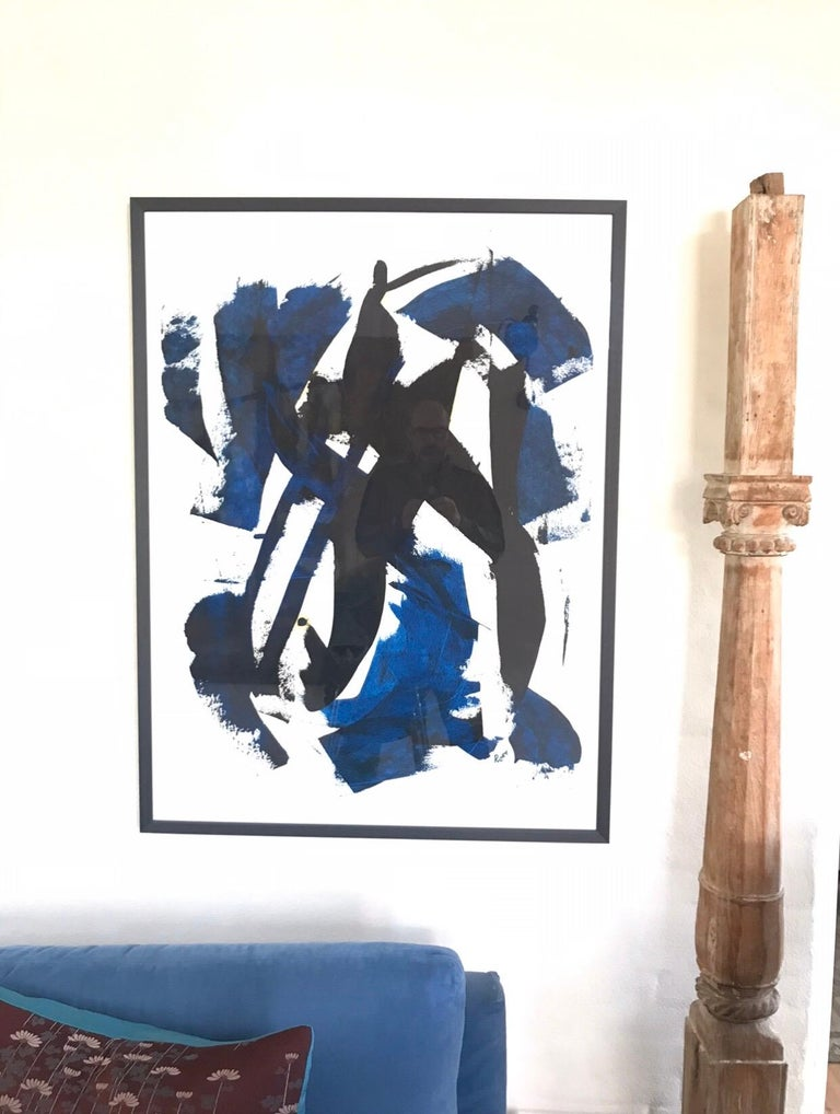 Oil on paper Black gives way for blue By Jan Rose Jan Rose has led an interesting life from The French Foreign Legion, body guard for the stars, author and now artist. Jan Rose is exceptionally good at establishing form, color, line, texture,