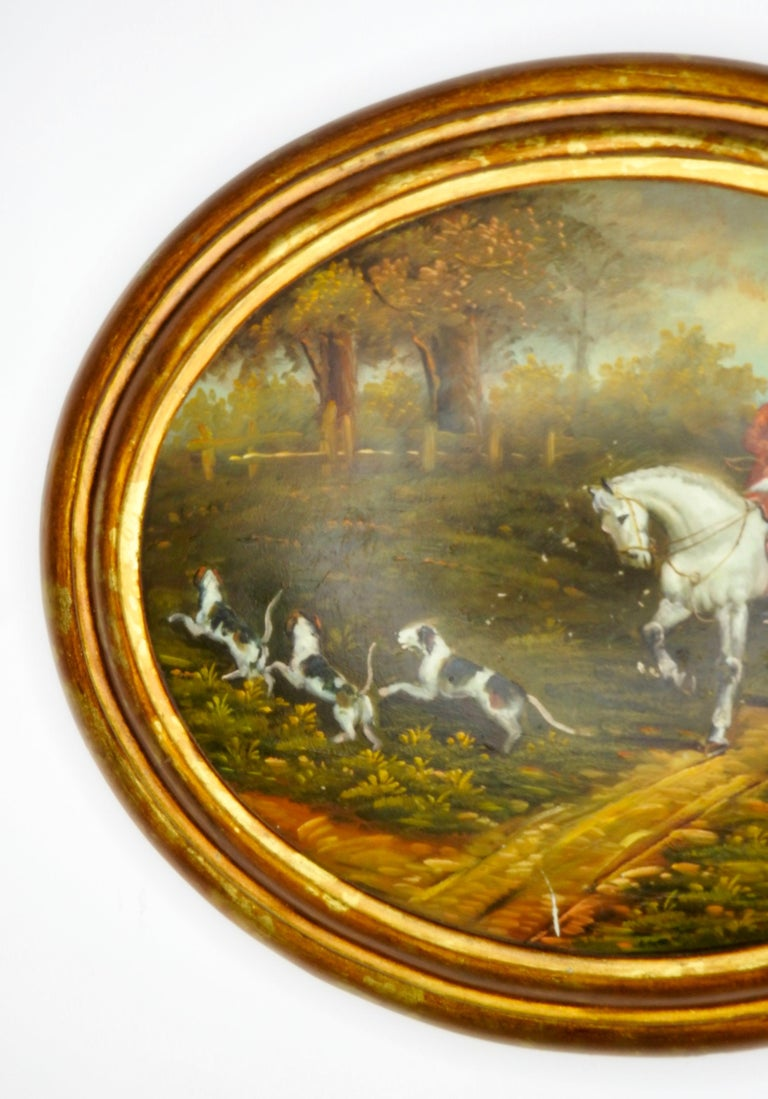 Hand-Painted Oil on Wood English Hunt Scene, 19th Century For Sale