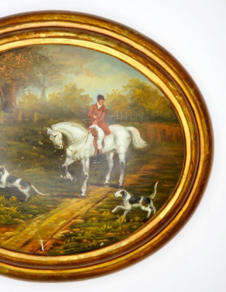 Oil on Wood English Hunt Scene, 19th Century In Fair Condition For Sale In Cookeville, TN
