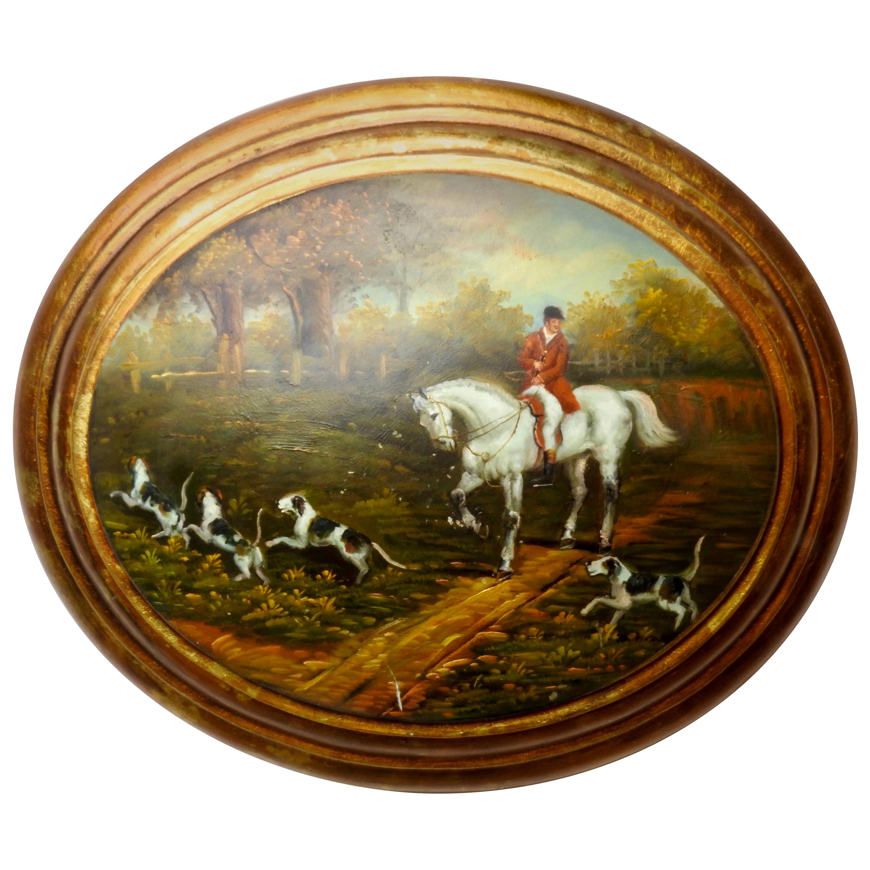 Oil on Wood English Hunt Scene, 19th Century