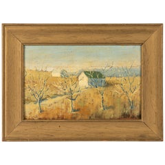 Rustic Russian Oil on Wood Painting by Leskov, Huts in Siberia