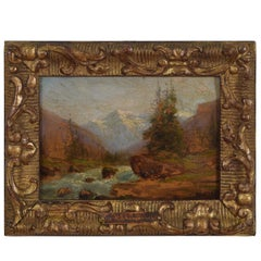Oil on Wooden Panel Signed Charles Malfroy Alpine River Scene, 19th-20th Century