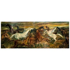 Oil Painted Horses on a Pair of Rectangular Wooden Panels, Signed Decalage, 1956