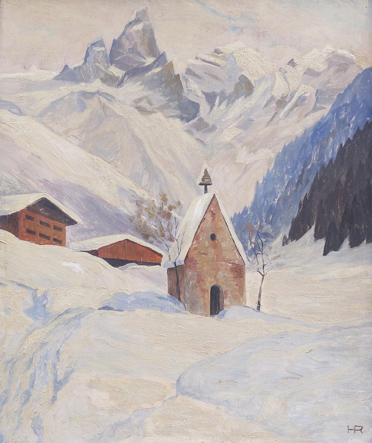 Snowy landscape  Measures: 60 cm x 50 cm without frame - cm 70 x cm 60 with frame (the painting is sold with frame), oil on panel  1920s  The small church of Einödsbach, in the background the peaks of the Trettachspitze, peaks of the Allgäu,