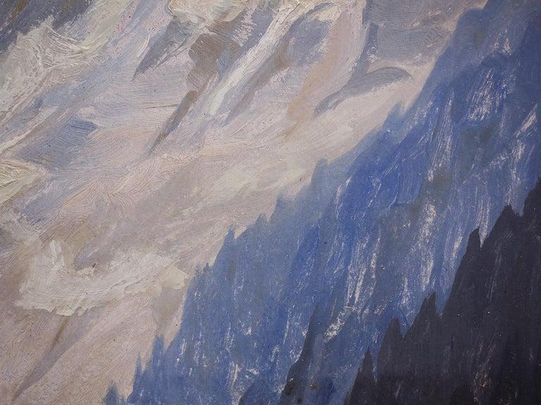 German Oil Painting, Alps, Snowy Landscape, 1920s For Sale