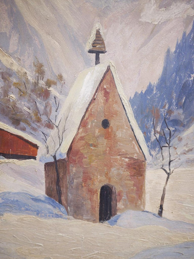 Oiled Oil Painting, Alps, Snowy Landscape, 1920s For Sale