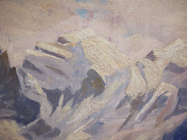 Oil Painting, Alps, Snowy Landscape, 1920s In Good Condition For Sale In Albignasego, IT