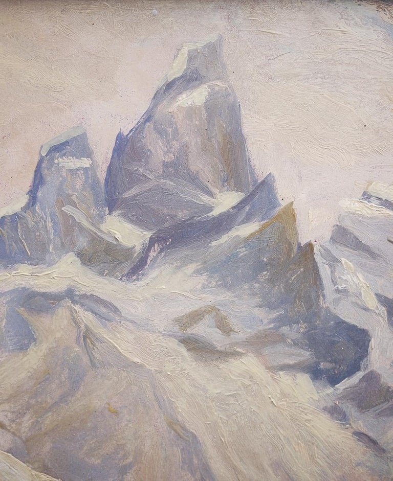 Early 20th Century Oil Painting, Alps, Snowy Landscape, 1920s For Sale