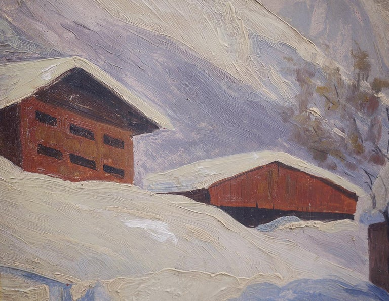 Oil Painting, Alps, Snowy Landscape, 1920s For Sale 2