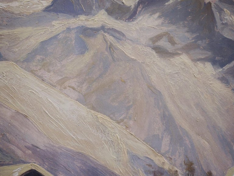 Oil Painting, Alps, Snowy Landscape, 1920s For Sale 3