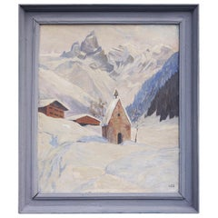 Oil Painting, Alps, Snowy Landscape, 1920s