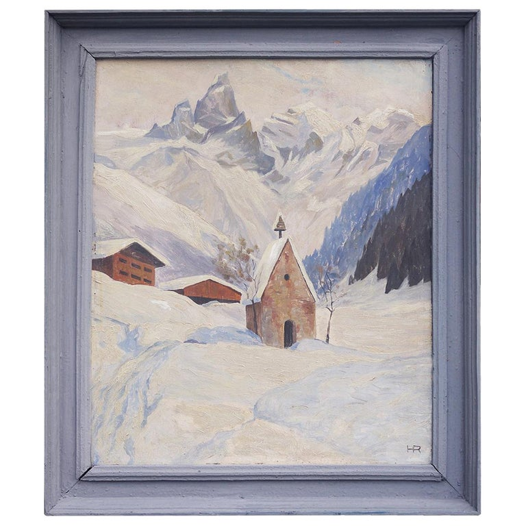 Oil Painting, Alps, Snowy Landscape, 1920s For Sale