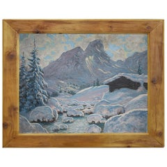 Oil Painting, Alps, Snowy Landscape, 1920s