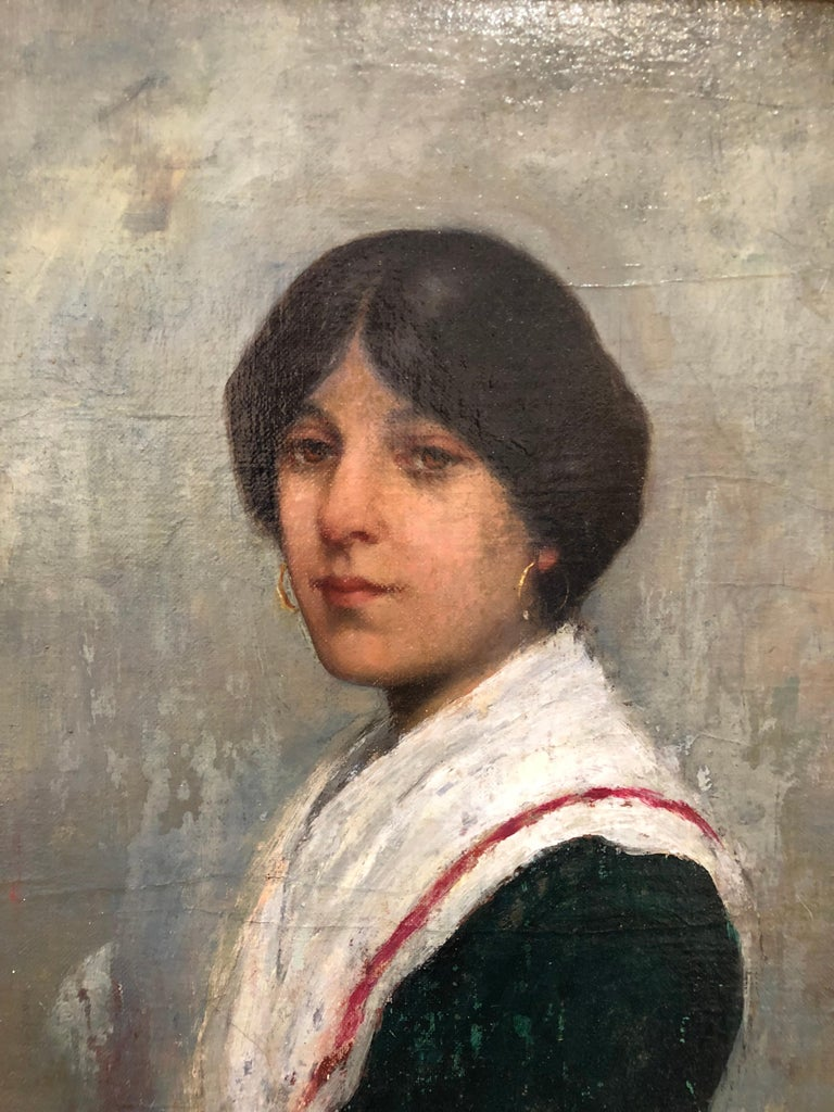 """An oil-on-canvas portrait titled """"Ideal Head"""" by artist Albert Grantley Reinhart, signed and dated lower right Venice 1882. Canvas size 14 x 11."""
