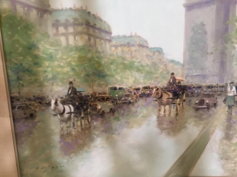 Large impressionist painting by Andre Gisson Born Anders Gettleson and later changed to Andre Gisson Born in New York 1921 Known for impressionist work in Paris.