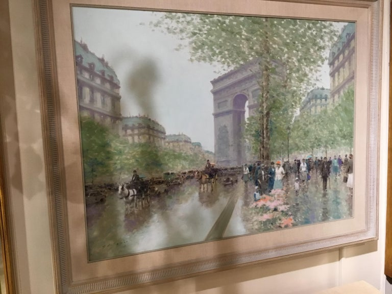 20th Century Oil Painting by Andre Gisson of the Arc de Triomphe, 1928-2003 For Sale
