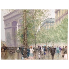 Oil Painting by Andre Gisson of the Arc de Triomphe, 1928-2003