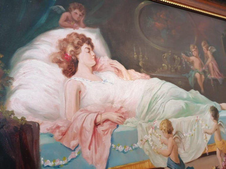 Austrian Oil Painting by Emil Fiala Sleeping Beauty For Sale