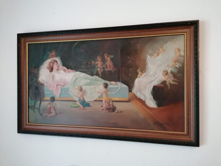 Oil Painting by Emil Fiala Sleeping Beauty In Good Condition For Sale In Vienna, AT