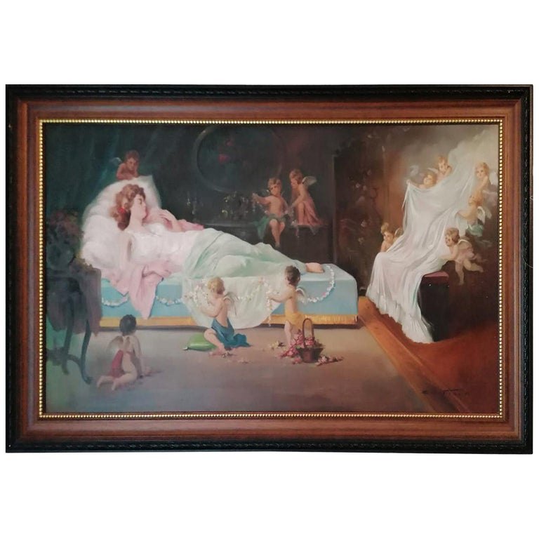 Oil Painting by Emil Fiala Sleeping Beauty For Sale