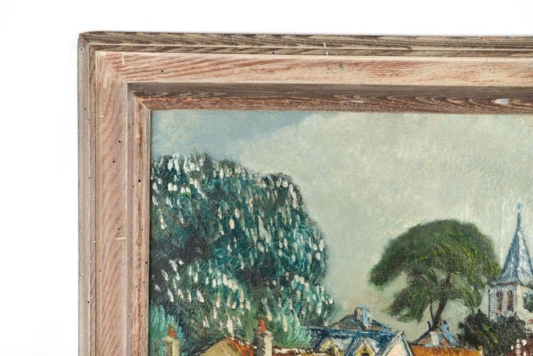 French village view. Oil on canvas. Location possibly identified on stretcher. Signed lower center. Dimensions: (Frame) H 27.25