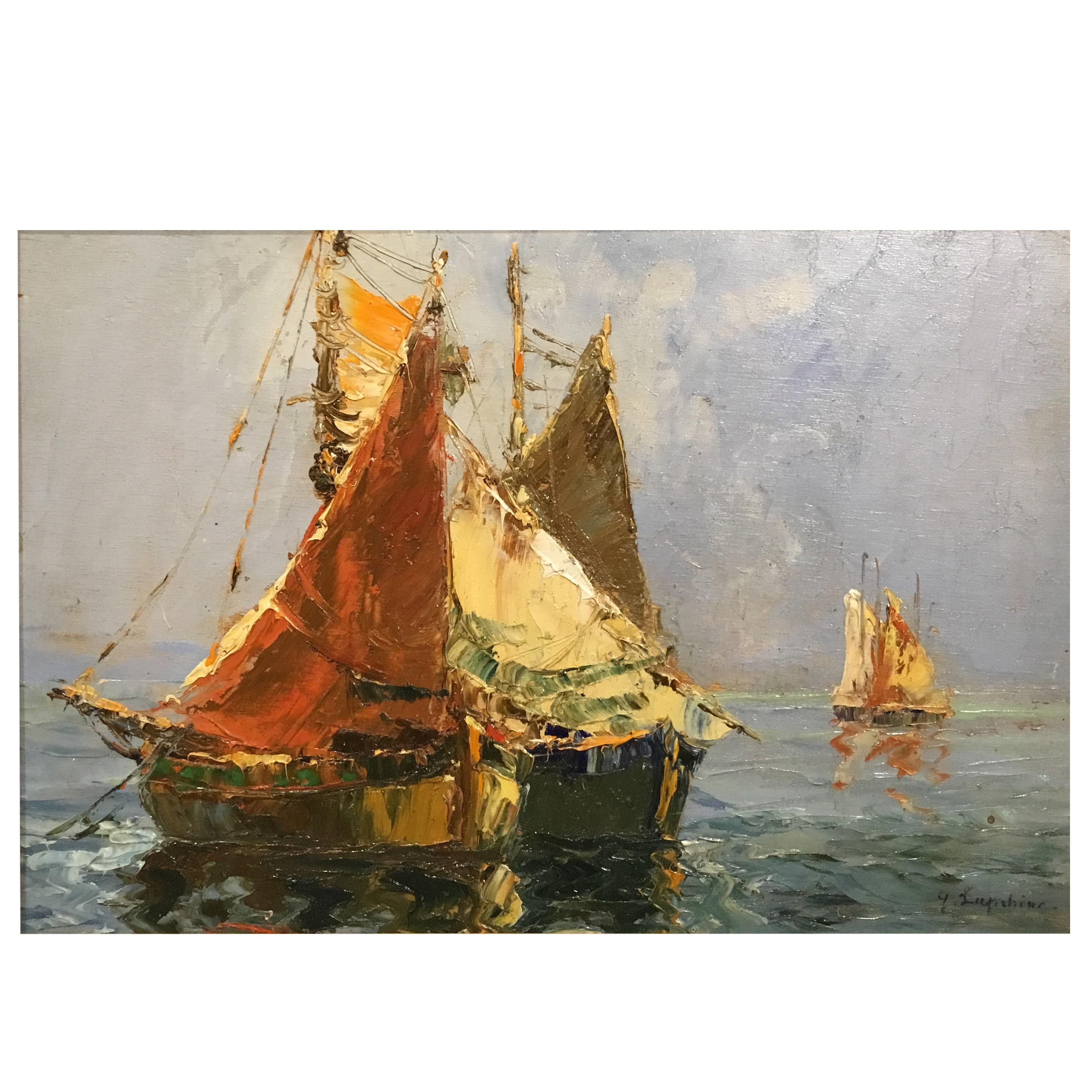 Oil Painting by Georgii Aleksandrovich Lapshin '1885-1951' Mediterranean Sea