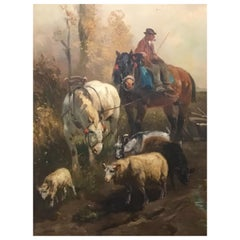 Oil Painting by Henri Schouten, Farm Scene with Farmer and Animals, 1857-1927
