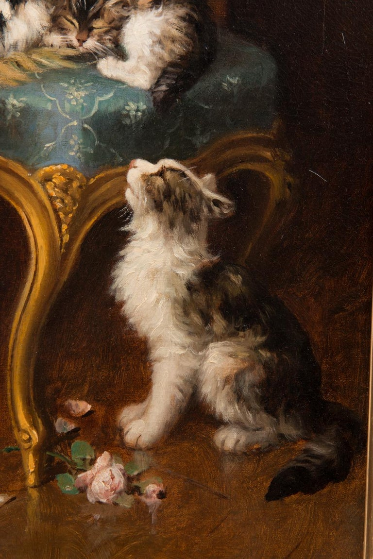 Oil Painting by 'Le Roy' of Cats Playing In Good Condition For Sale In Brighton, Sussex